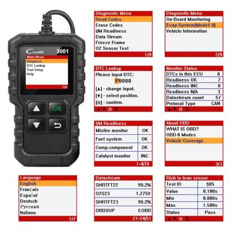 Портативный диагностический сканер Launch Creader 3001